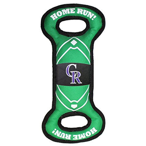Pets First ROC-3030 MLB Colorado Rockies Baseball Field Tough Dog Toy, MLB Team Color