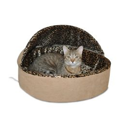K&H Pet Products Thermo-Kitty Heated Pet Bed Deluxe Large Tan/Leopard 20″ 4W