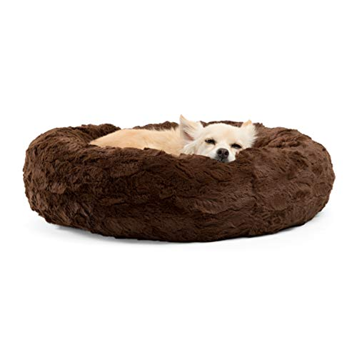 Best Friends by Sheri Luxury Faux Fur Donut Cuddler (23×23), Dark Chocolate – Small Round Donut Cat and Dog Cushion Bed, Orthopedic Relief