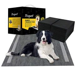Thxpet Pet Puppy Pads Black Activated Carbon 22″ by 23″ Wee Wee Dog Pee Potty Training Pad Bamboo Charcoal 80 Count