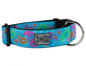 RC Pet Products 1 1/2 Inch Wide Adjustable Dog Clip Collar, Large, Tropical Paisley