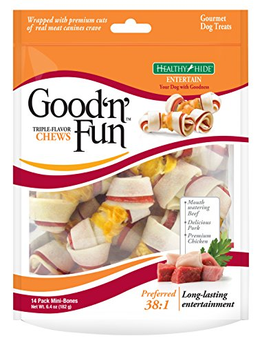 Good 'N' Fun Triple Flavor Mini Rawhide Chews, 14-Count