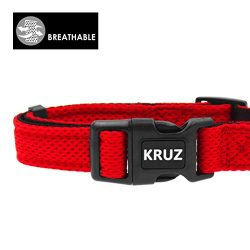 KRUZ PET KZA102-14M Breathable Mesh Dog Collar, Soft and Strong, Medium