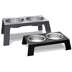 PetFusion Elevated Dog Bowls in Premium Anodized Aluminum Stand (Tall 8″). 2 US FOOD GRADE Stainless Steel 56oz bowls