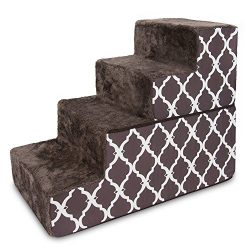 Best Pet Supplies 4-Step Foldable CertiPUR-US Certified Foam Pet Stairs/Steps, 28 x 16 x 22-Inch, Chocolate Brown with Lattice Print