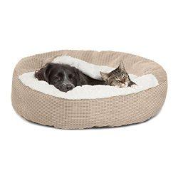 Best Friends by Sheri Cozy Cuddler in Mason Dog/Cat Bed, 26″ x 26″, Wheat