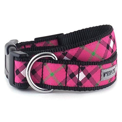 Bias Plaid Hot Pink Collar, Hot Pink, L