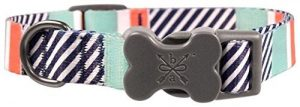 Bow & Arrow Pet Dog Collar, Nautical Stripe Adjustable Dog Collar, Large, 1-1/4 Inches Wide, 17-25 Inches Long, Mint