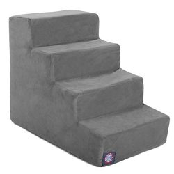 4 Step Gray Velvet Suede Pet Stairs By Majestic Pet Products
