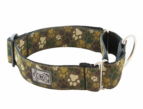 RC Pet Products 1-1/2-Inch All Webbing Martingale Dog Collar, Large 16 to 27-Inch, Pitter Patter Camo