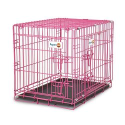 Aspen Pet Puppy 2-Door Training Retreat Crate, 24″, Pink