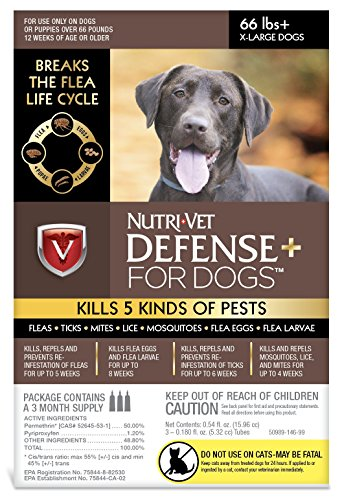 Nutri-Vet Defense Plus Dog Flea & Tick Control, Extra Large Dogs Over 66 lbs