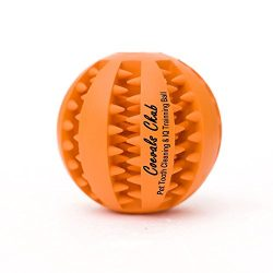 Coevals Club Pet Dog Treat Slow Feed Ball, Interactive IQ Non-Toxic Rubber Dental Treat Tooth Cleaning Toy for Dogs Training Playing Chewing, 2.8″ L, Orange