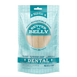 Better Belly Dental Rolls, Highly Digestible Rawhide, Reduces Tartar Buildup, 4-Count