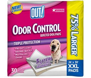 OUT! Odor Control Extra Large Puppy Training Dog Pads, 26 x 30 in, Made in USA (Packaging May Vary)