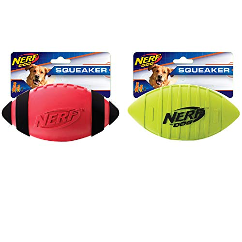Nerf Dog Squeak Rubber Football Dog Toy 2-Pack