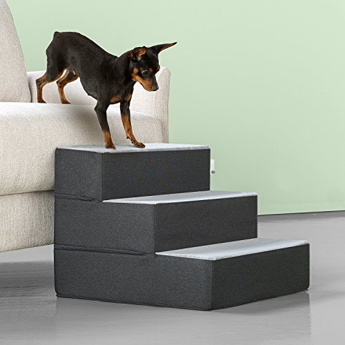 Zinus Easy Pet Stairs/Pet Ramp/Pet Ladder, Small, Grey
