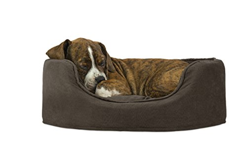 FurHaven Pet Dog Bed | Oval Terry Fleece and Suede Pet Bed for Dogs & Cats, Small, Espresso