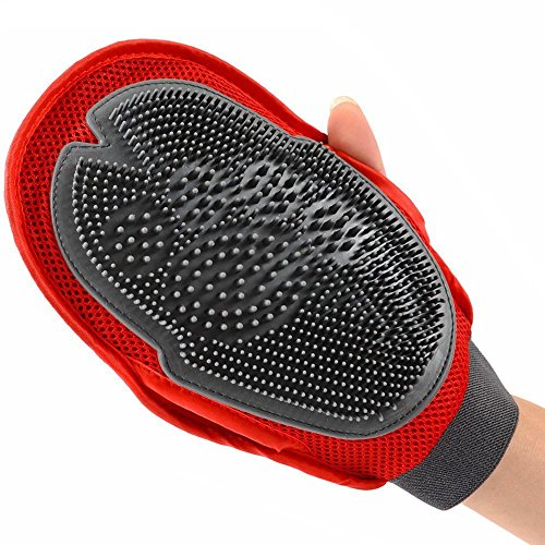 ArcticLight Pet Grooming Glove Tool 2 in 1 Dual Sided Gentle Deshedding Brush for Dog and Cat, Pet Massage, Pet Hair Removal Soft Rubber Mitt