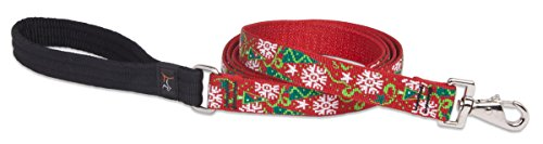 LupinePet Originals 1″ Christmas Cheer 6-foot Padded Handle Leash for Medium and Larger Dogs