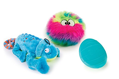 goDog 3 Count Amphibianz Chameleon Plush Toy, Furballz Plush Toy & Rhino Play Flip Toy for Dogs