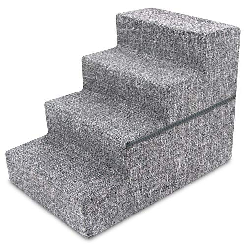 Best Pet Supplies 4-Step Foldable CertiPUR-US Certified Foam Pet Stairs/Steps, 28 x 16 x 22-Inch, Gray Linen
