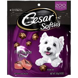 CESAR SOFTIES Dog Treats Filet Mignon Flavor, 18 oz. Pouch (200 Treats), Great Stocking Stuffer for Dogs