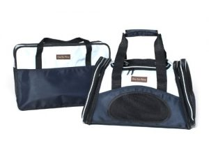 The One Bag Expandable Pet Carrier – Small – Navy – Seatbelt/Trolley Fixture Included – Airline Approved Size