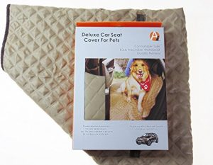 Adog Deluxe Quilted Dog Car Back Seat Cover, Tan/Brown