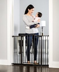 Regalo Easy Step Arched Décor Walk Thru Baby Gate, Includes 6-Inch Extension Kit, 4 Pack Pressure Mount Kit and 4 Pack Wall Mount Kit, Bronze