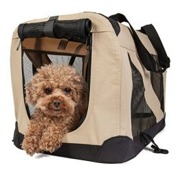 Pet Life Folding Zippered 360 Vista View House Carrier in Khaki, Medium