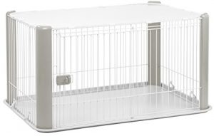 IRIS Large Wire Dog Crate with Mesh Roof, Gray