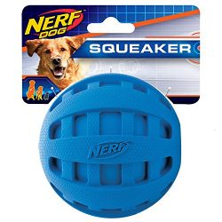 Nerf Dog Checker Squeak Rubber Ball Dog Toy, Medium/Large, Blue