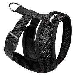 Gooby Choke Free X Frame Soft Harness with Micro Suede Trimming for Small Dogs, Large, Black