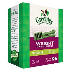Greenies Weight Management Teenie Dental Dog Treats, 27 Oz. Pack (96 Treats)