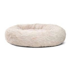Best Friends by Sheri Donut Cuddler in Lux Fur Dog Bed/Cat Bed, 30″X30″, Oyster