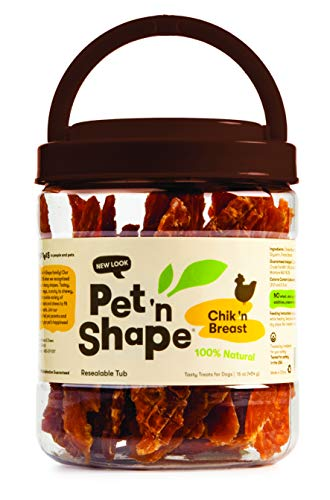 Pet 'N Shape – Chik 'N Breast – 100-Percent Natural Chicken Jerky Dog Treats, 1-Pound