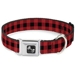 Buckle-Down Seatbelt Buckle Dog Collar – Buffalo Plaid Black/Red – 1″ Wide – Fits 15-26″ Neck – Large