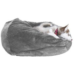 Furhaven Pet Dog Bed | Round Plush Ball Pet Bed for Dogs & Cats, Silver Gray, Medium
