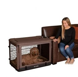 "Pet Gear ""The Other Door"" 4 Door Steel Crate with Plush Bed + Travel Bag for Cats/Dogs, Sets up in Seconds No Tools Required, Built-In Handle/Wheels"
