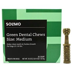 Amazon Brand – Solimo Green Dental Chews Dog Treats, Medium Size, 36 Count