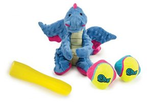 goDog 3 Count Dragon Plush Toy, Retrieval ScrewBallz Toy & Rhino Play Vexo Toy for Dogs