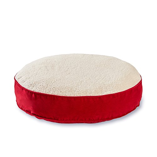Happy Hounds Scout Deluxe Round Dog Bed, Large 42-Inch, Crimson/Sherpa