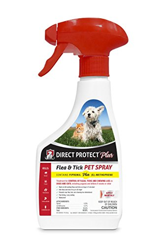 Direct Protect Plus Flea & Tick Pet Spray, For Dogs & Cats 8 Weeks and older, Waterproof and Fast Acting, 16 ounces