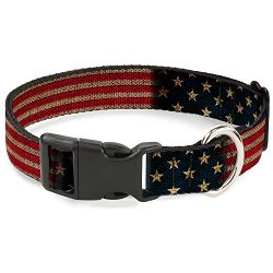 Buckle Down Plastic Clip Collar – Vintage US Flag Stretch – 1″ Wide – Fits 15-26″ Neck – Large