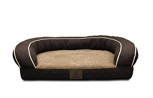 "AKC Sweet Dreams Large 35x27x8"" Quilted Orthopedic Pet Sofa Couch Bed with Bolster Sides, Machine Washable, Ideal For Larger Breeds"