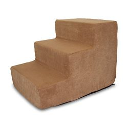 Best Pet Supplies 3-Step Pet Stairs, 18 by 15 by 13-Inch, Light Brown Suede