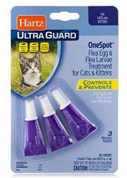 Hartz UltraGuard Onespot Flea & Tick Drops for Cats – 3 Monthly Treatments