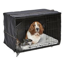 Dog Crate Starter Kit | One 2-Door iCrate, Pet Bed, Crate Cover & 2 Pet Bowls | 36-Inch Ideal for Med. / Large Dog Breeds