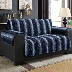 Wag and Wiggle Reversible Luxury Faux Fur Plush Furniture Cover Love Seat, Indigo